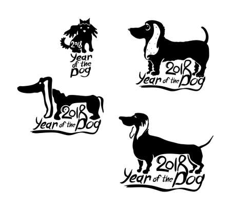 Year of the Dog 2018. Set of vector templates for New Year's design. New Year on the Chinese calendar. Vettoriali