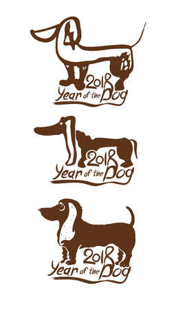Year of the Dog 2018. Three vector templates for New Years design. New Year on the Chinese calendar.