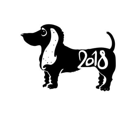 Année du chien 2018. Timbre pour la conception du Nouvel An. Modèle vectoriel Nouvel An sur le calendrier chinois. Banque d'images - 90359860