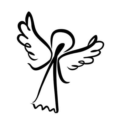 Painted Angel. Simple vector illustration of a free hand line. Illustration