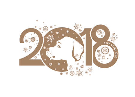 Year of the Dog. Vector template head dog and figures 2018. New Years design on the Chinese calendar.