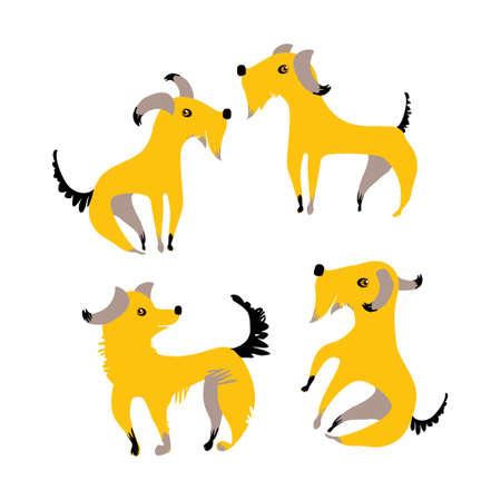 4匹の面白い黄色い犬