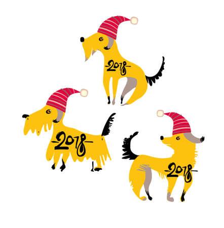 赤いサンタ帽子の 3 つ面白い黄色犬。