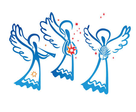 Angel with a trumpet and Angel with a star and Angel with a palm leaf. Simple vector illustration of a free hand line.