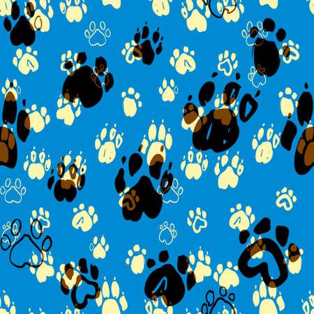 Dogs paws seamless pattern. Animal vector background. Ilustração