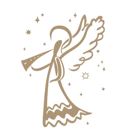 Painted Angel Pipe is sounding among the stars. Simple vector illustration of a free hand line.