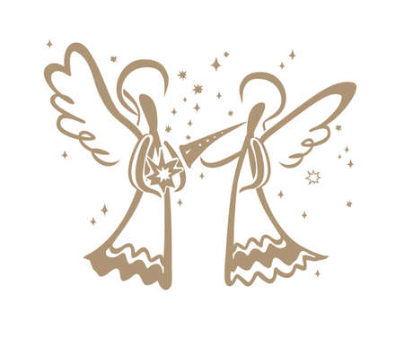 Angel with a trumpet and Angel with a star in his hands. Simple vector illustration of a free hand line.