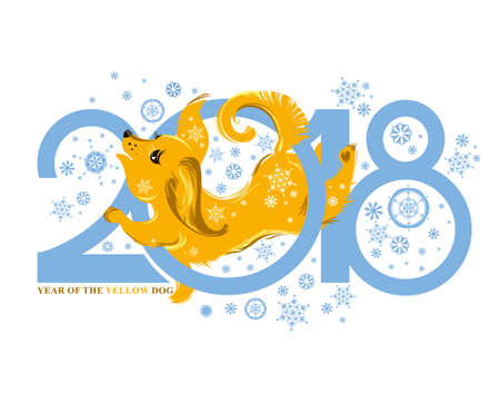 Dog 2018 symbol on the Chinese calendar. Cute puppy catches snowflakes. Year of the Yellow Dog. Vector template for New Years design.