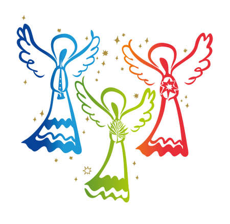 Three Angels. Angel with a trumpet and Angel with a star and Angel with a palm leaf. Simple vector illustration of a free hand line.