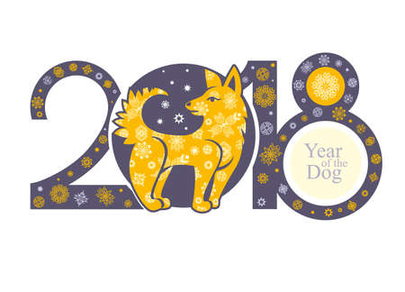 Beautiful Decorative template with a cute Yellow Dog. 2018 New Years banner design background. Illustration