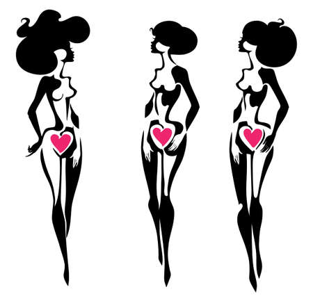 美女フィギュアのベクトルシルエット3体。女性らしさ、美しさと健康の象徴。