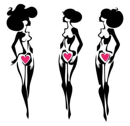 Three vector silhouettes of beautiful female figures. Symbol of femininity, beauty and health.  イラスト・ベクター素材