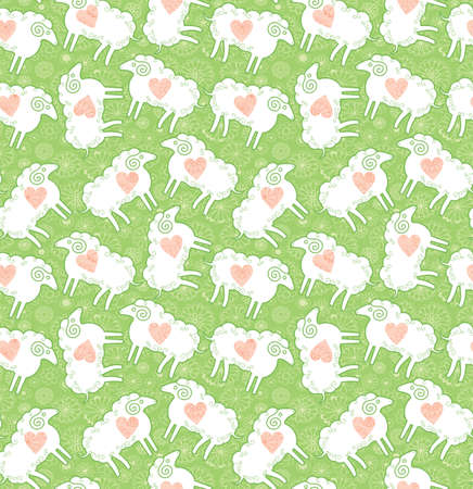 Loving lambs on a green flowering meadow. Seamless pattern sheep on the field.