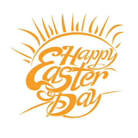 Happy Easter Day. Solar symbol Easter inscription. Beautiful vector lettering for holiday.