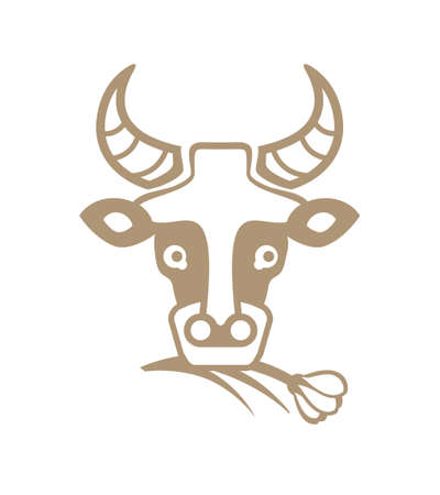 Cow. Simple vector template of a portrait of a cow munching grass. Sticker for the design of eco-friendly dairy products. Stock Vector - 92857134