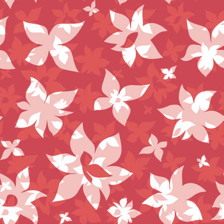 Summer Floral seamless pattern. Cute background with red flowers.