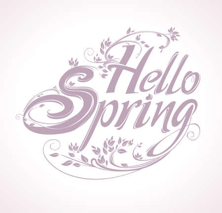 Hello Spring beautiful vector card with labels with curly branches and spring leaves.