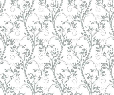 Seamless floral pattern. Stems and leaves of ornamental silver gray grasses.