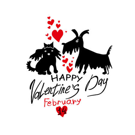 Funny loving little doggies. Template for Valentine's Day. Symbol on the Chinese calendar. Illustration