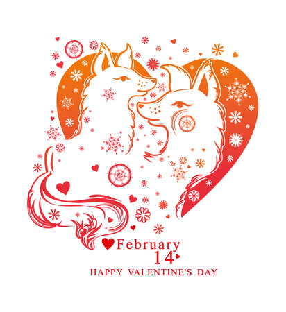 Heart shape with snowflakes and a pair of cute dogs. Vector card by Valentines Day