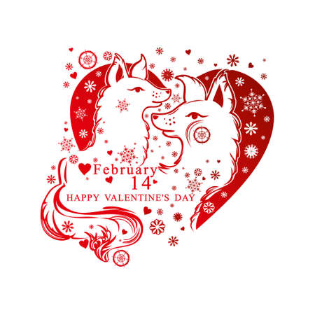 Heart shape with snowflakes and a pair of enamored dogs. Vector card by Valentines Day