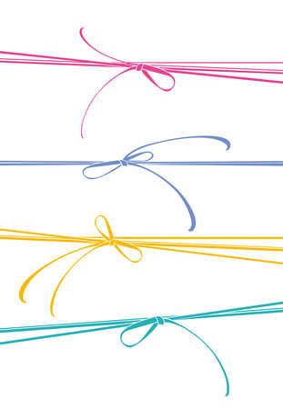 Ribbons colorful bows. Four colorful ribbons. Vector template illustration.