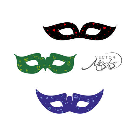 Three masks are dark blue with stars, green with flora and black with red hearts. Masks for a masquerade. Vector party mask.