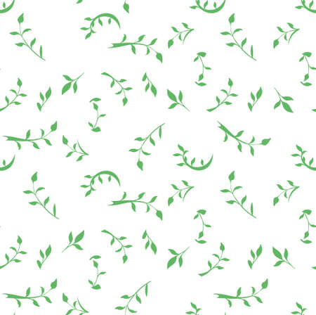 Seamless pattern of green leaves and twigs. Flat vector template design. Illustration