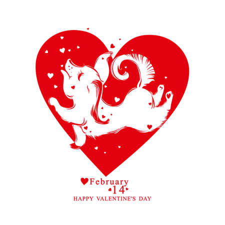 Heart shape with pretty dog. Vector illustration by Valentines Day. Illustration