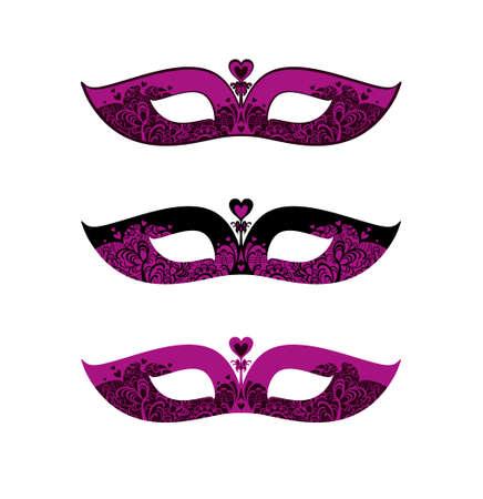 Black and Fuchsia set of three variants of similar masks. Beautiful patterned masquerade Masks. Ilustração