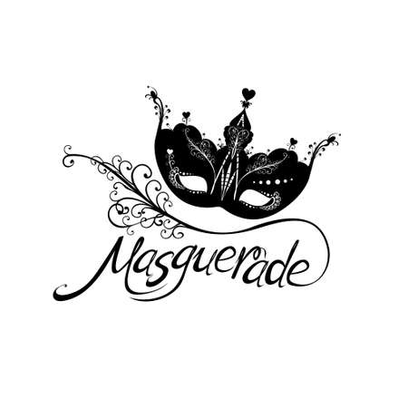 Beautiful patterned masquerade Mask. Lettering text design and mask and feather isolated on white background for Mardi Gras. Illustration