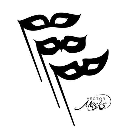 Three silhouettes of carnival masks. Flat vector design. Banco de Imagens - 94006425
