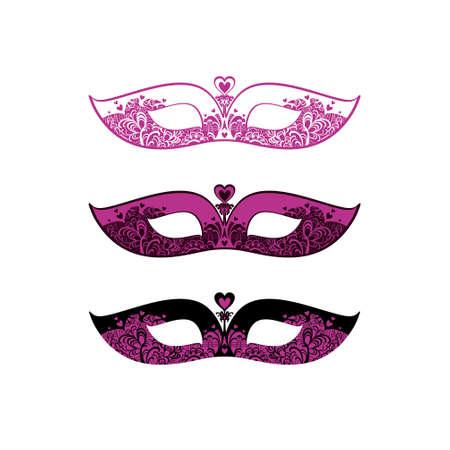 Mask made of fuchsia lace. Black and Fuchsia set of three variants of similar masks. Beautiful patterned masquerade Masks.