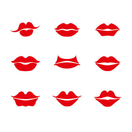 Lipstick. Set of red lips are different in shape. Illustration