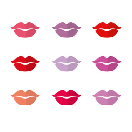 Female lips set of different shades of lipstick. Vector template Palette Cosmetic. Illustration