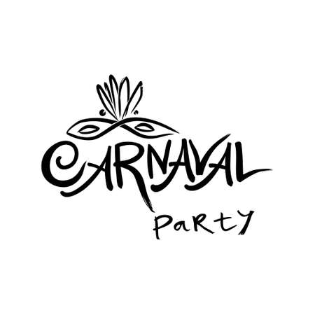 Carnaval party. Hand drawn vector template with Masquerade mask.