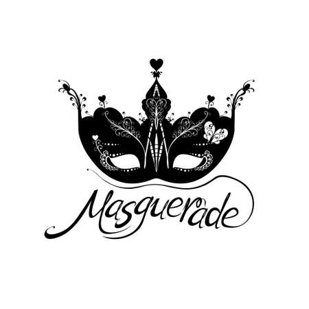 Beautiful masquerade Mask. Lettering text design and mask and feather isolated on white background for Mardi Gras.