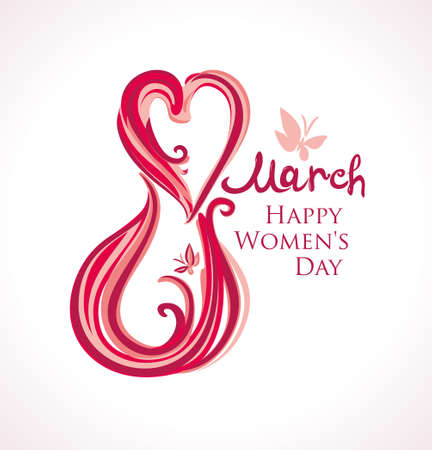 8 March. Happy Women's Day card. Illustration with lettering and butterflies.