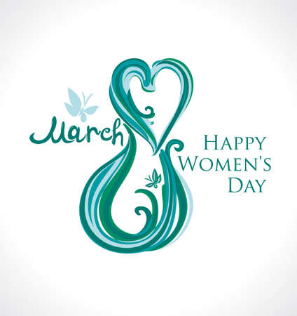 March 8. Happy Women's Day card. Illustration with lettering and butterflies.