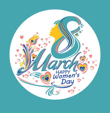 Beautiful round illustration of Womens Day. Illustration