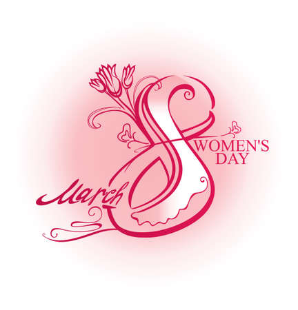Hand drawn text calligraphy march 8 women's day with flowers on light pink blot. Vector illustration.