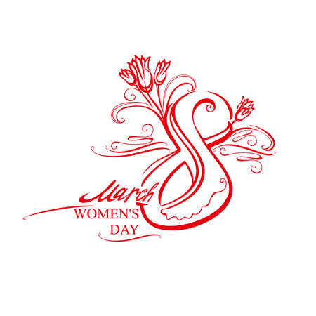 Symbol eight with tulips. March 8. International Women's Day. Red handwritten vector template of card, poster, postcard, invitation. Ilustração
