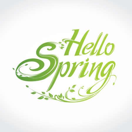 Hello Spring. Vector lettering template for design. Illustration