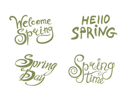 Spring. Four welcome templates. Inscription hand draw design. Vector template isolated on white background.