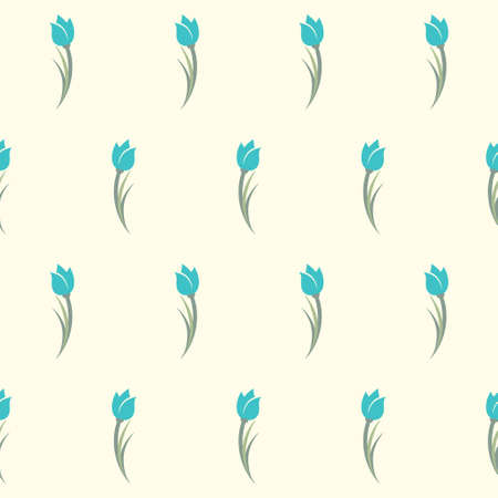 Tulips seamless pattern. Cute simple background with blue tulips flowers. Ilustrace