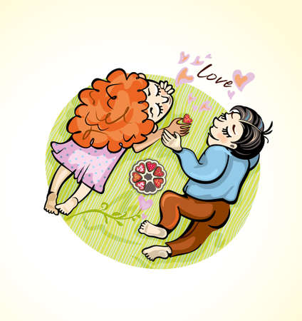 Romantic couple lies on a green blanket. Vector cartoon illustration. Love and hearts and sweets. Illustration