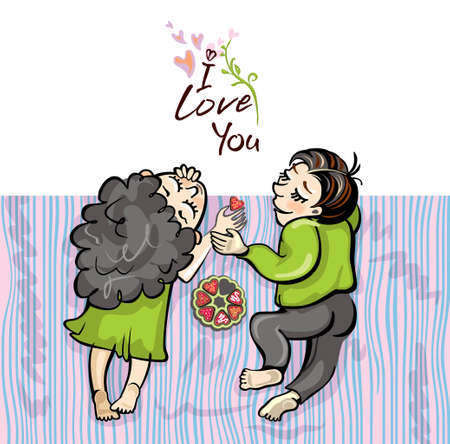 Romantic pair of lovers lies on a blanket. Vector cartoon illustration with the inscription I love you. Çizim