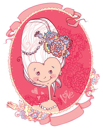 Little lady. Sweet pink portrait of a funny girl in the jocular style of Marie Antoinette.