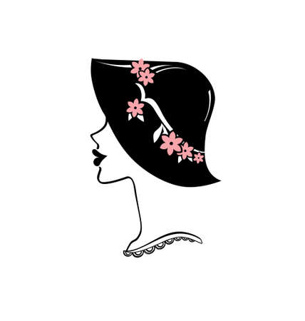Retro style fashion. Vector portrait of a woman in a hat with pink flowers.