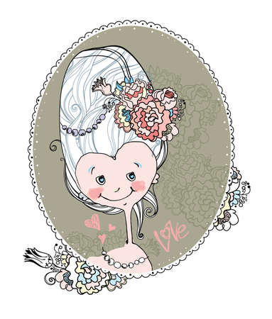 Little lady. Very nice portrait of a funny girl in the jocular style of Marie Antoinette. Illustration